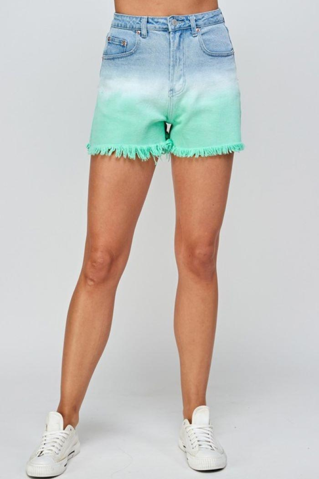 Signature 8 Mint Ombre Denim Shorts - Back Cropped Image