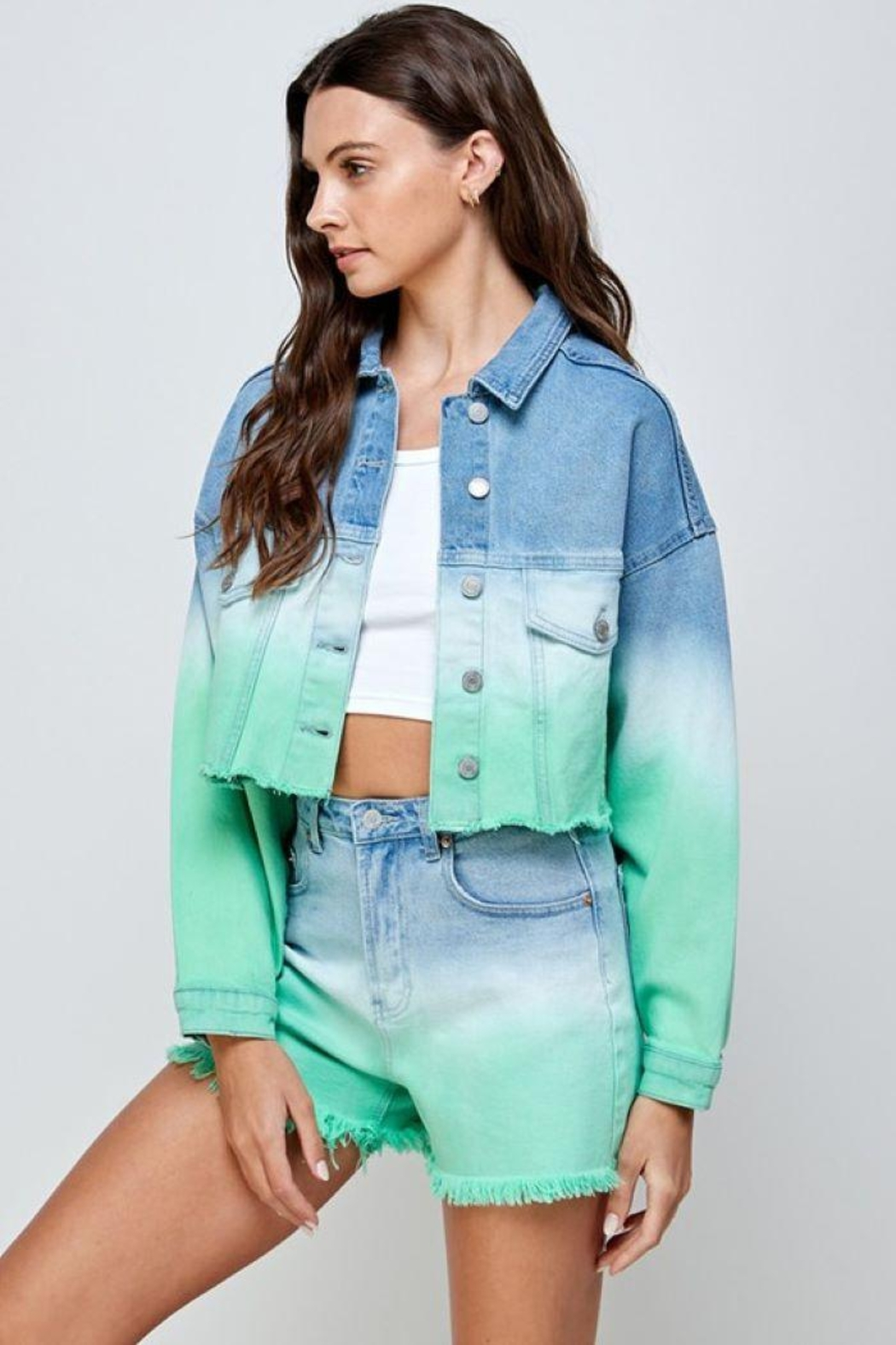 Signature 8 Mint Ombre Denim Shorts - Side Cropped Image