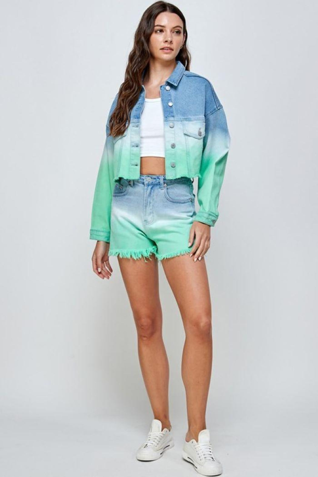 Signature 8 Mint Ombre Denim Shorts - Front Cropped Image
