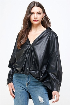 Shoptiques Product: Oversize Faux-Leather Shirt
