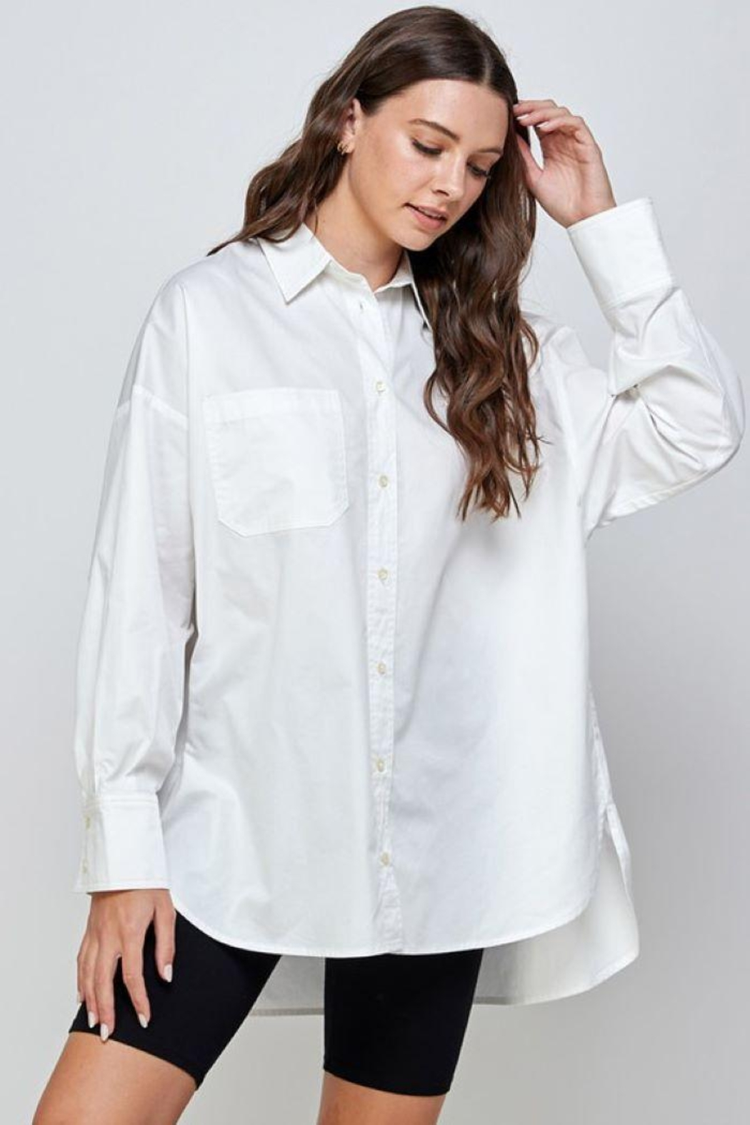 Signature 8 Oversized Button Up Shirt - Front Full Image
