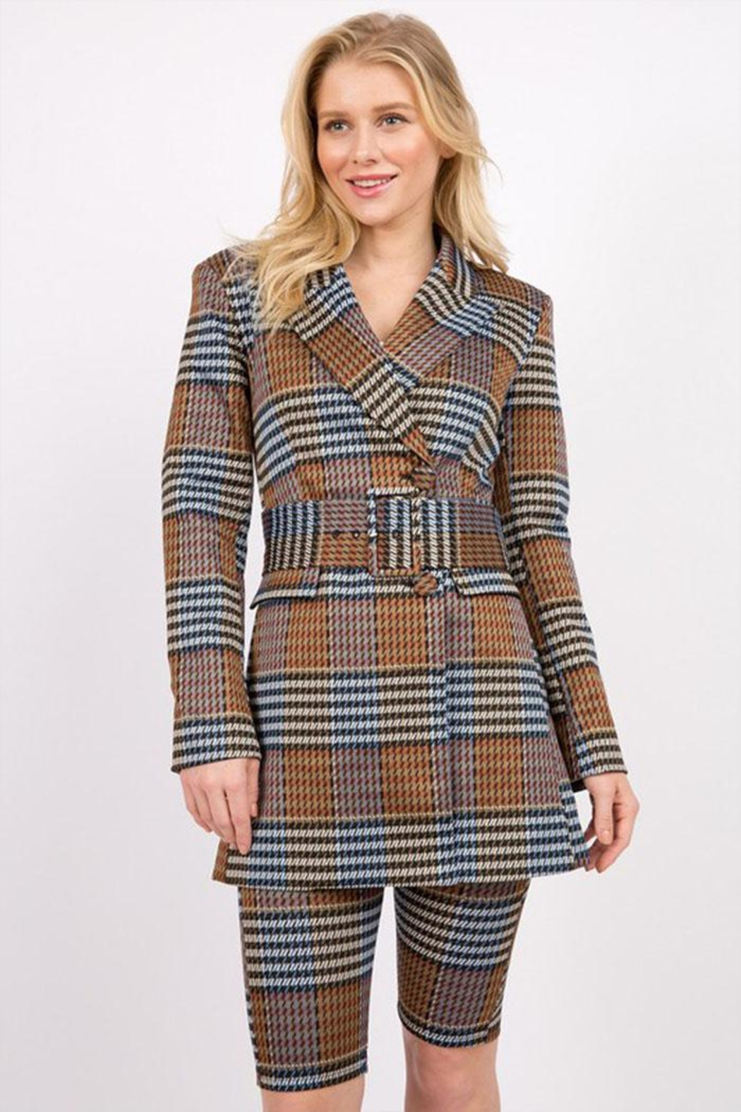 Signature 8 Plaid Belted Jacket - Main Image