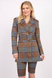 Signature 8 Plaid Belted Jacket - Front cropped