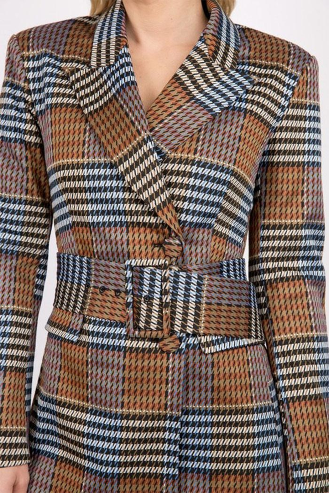 Signature 8 Plaid Belted Jacket - Side Cropped Image