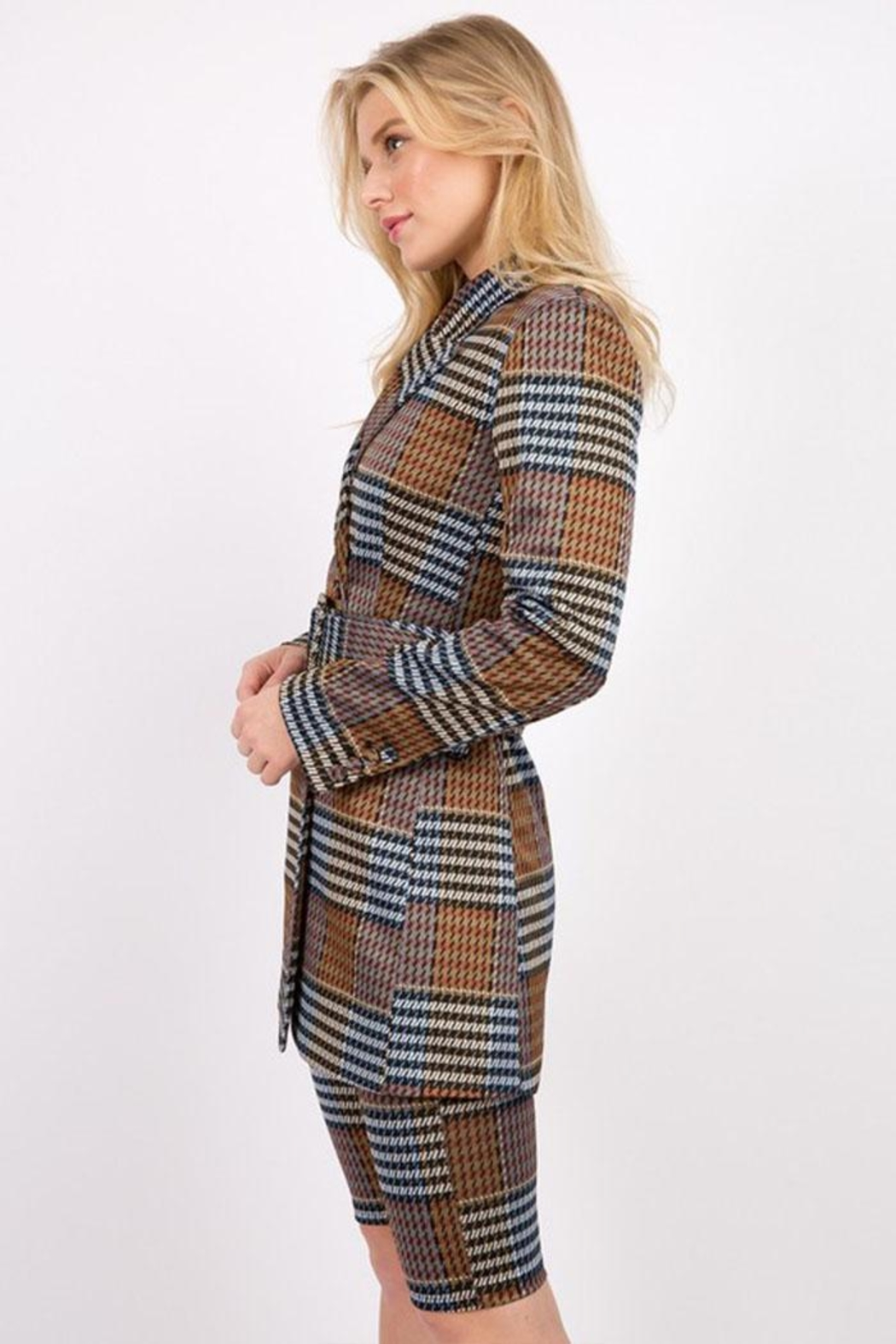 Signature 8 Plaid Belted Jacket - Front Full Image