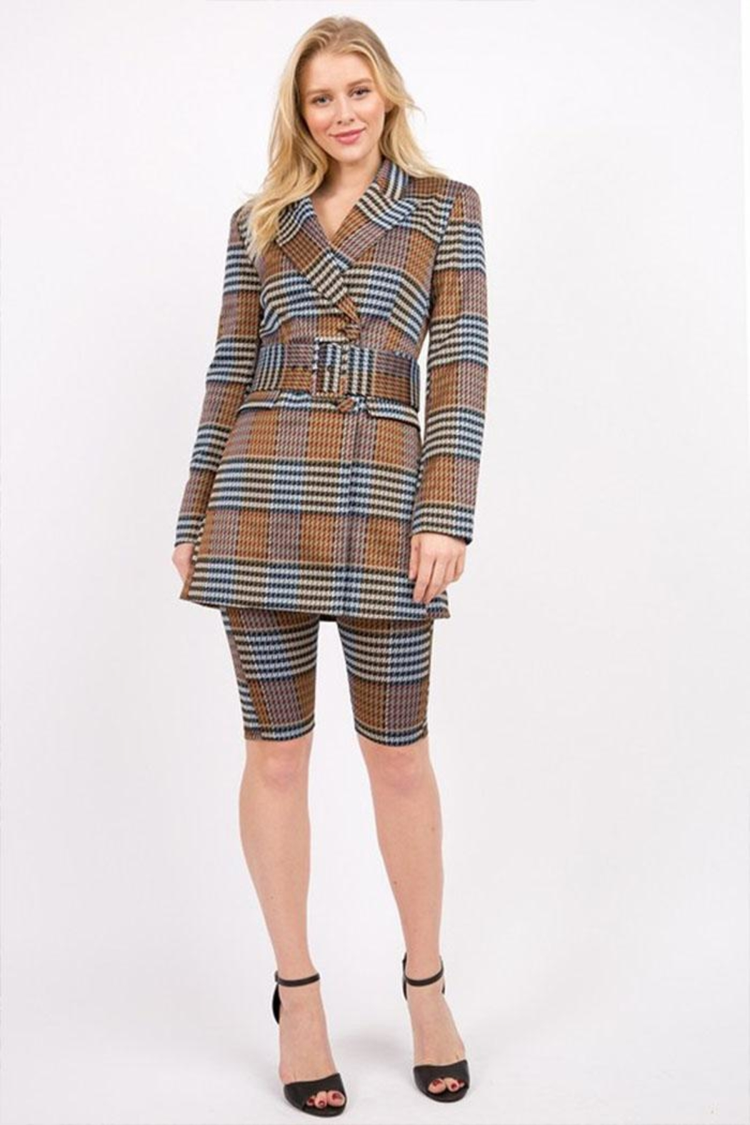 Signature 8 Plaid Belted Jacket - Back Cropped Image