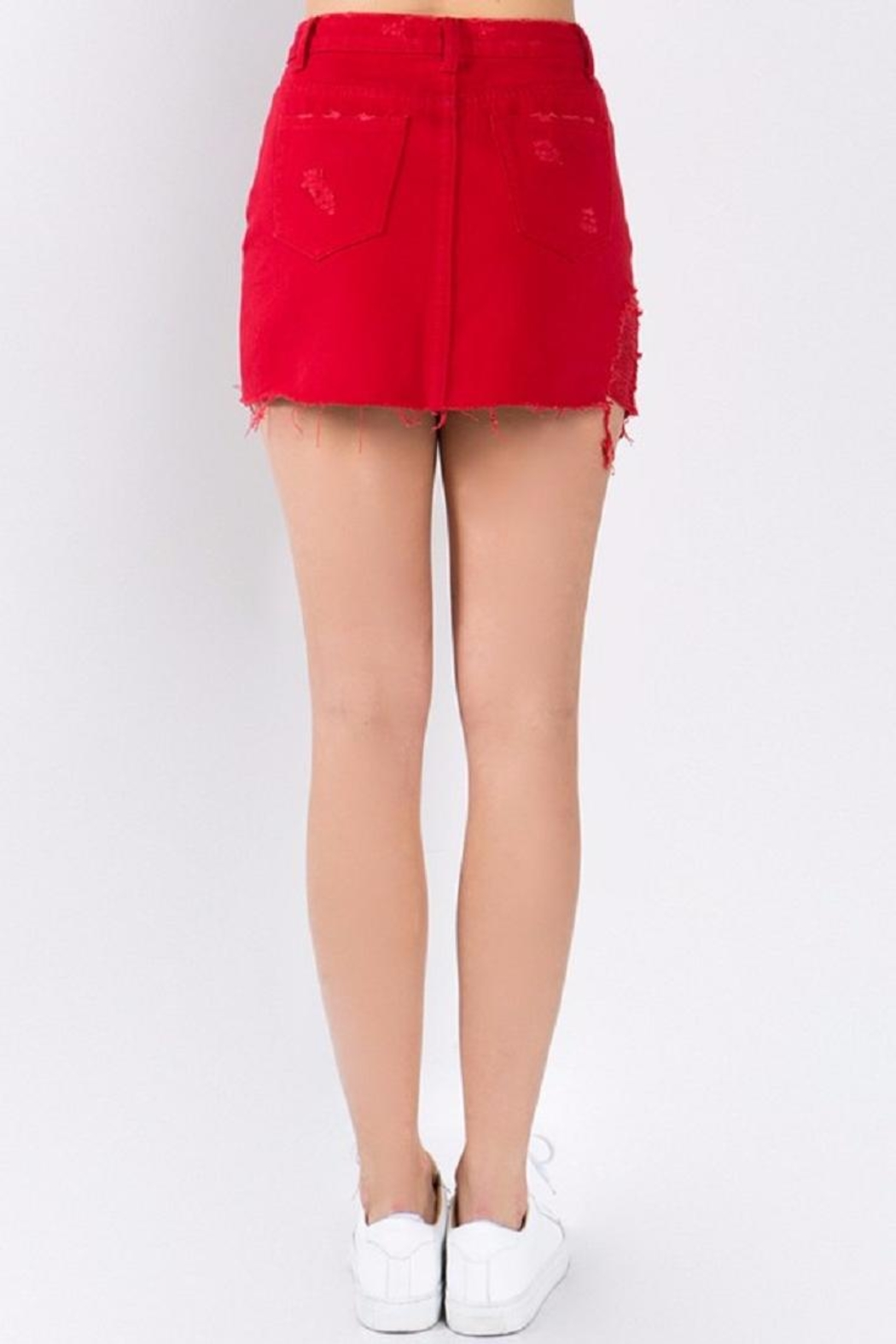Signature 8 Red Denim Skirt - Side Cropped Image