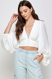 Signature 8 V-Neck Cropped Blouse - Front cropped