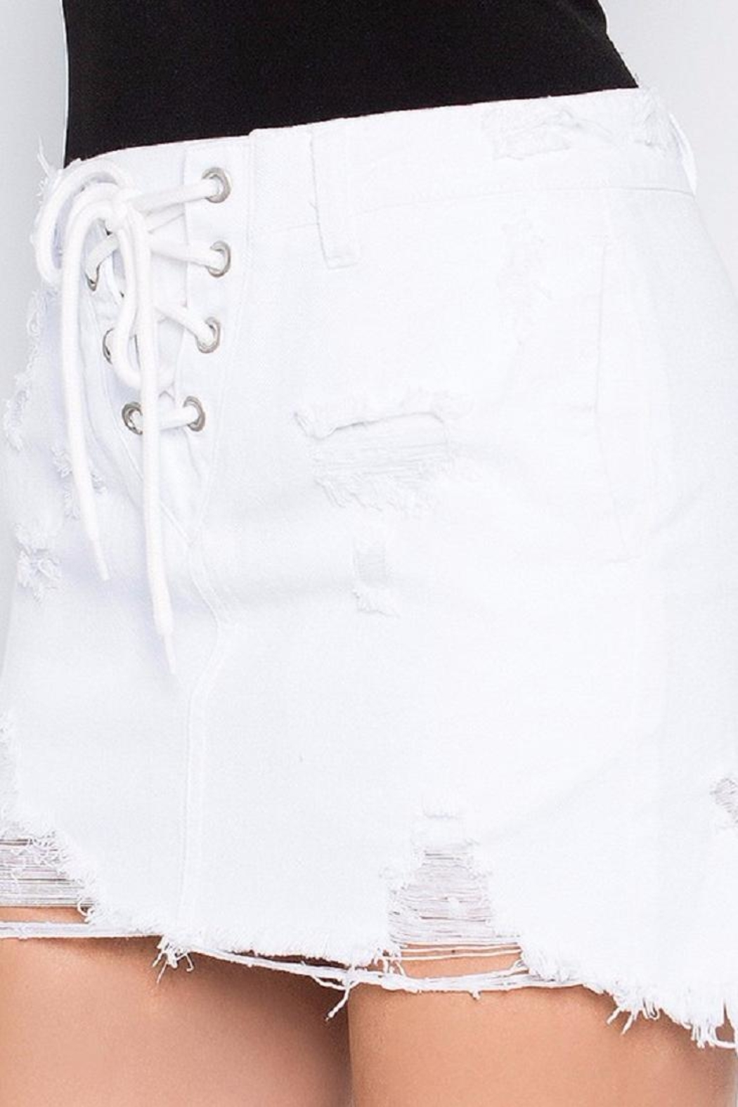 Signature 8 White Distressed Skirt - Front Full Image