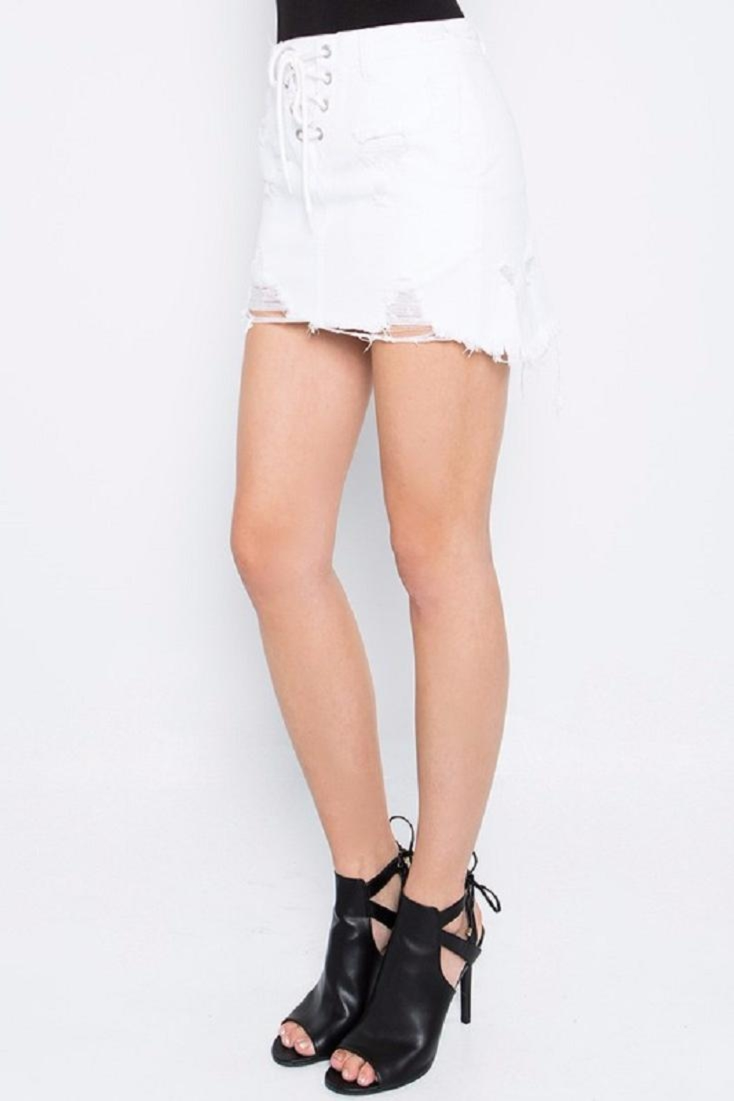 Signature 8 White Distressed Skirt - Back Cropped Image