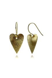 Sikara & Co. Brushed Heart Earrings - Front cropped