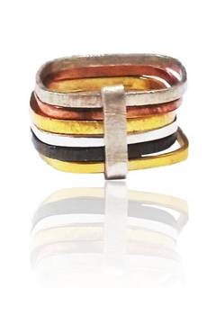 Shoptiques Product: Six Multi Habimah Square Stacked Ring