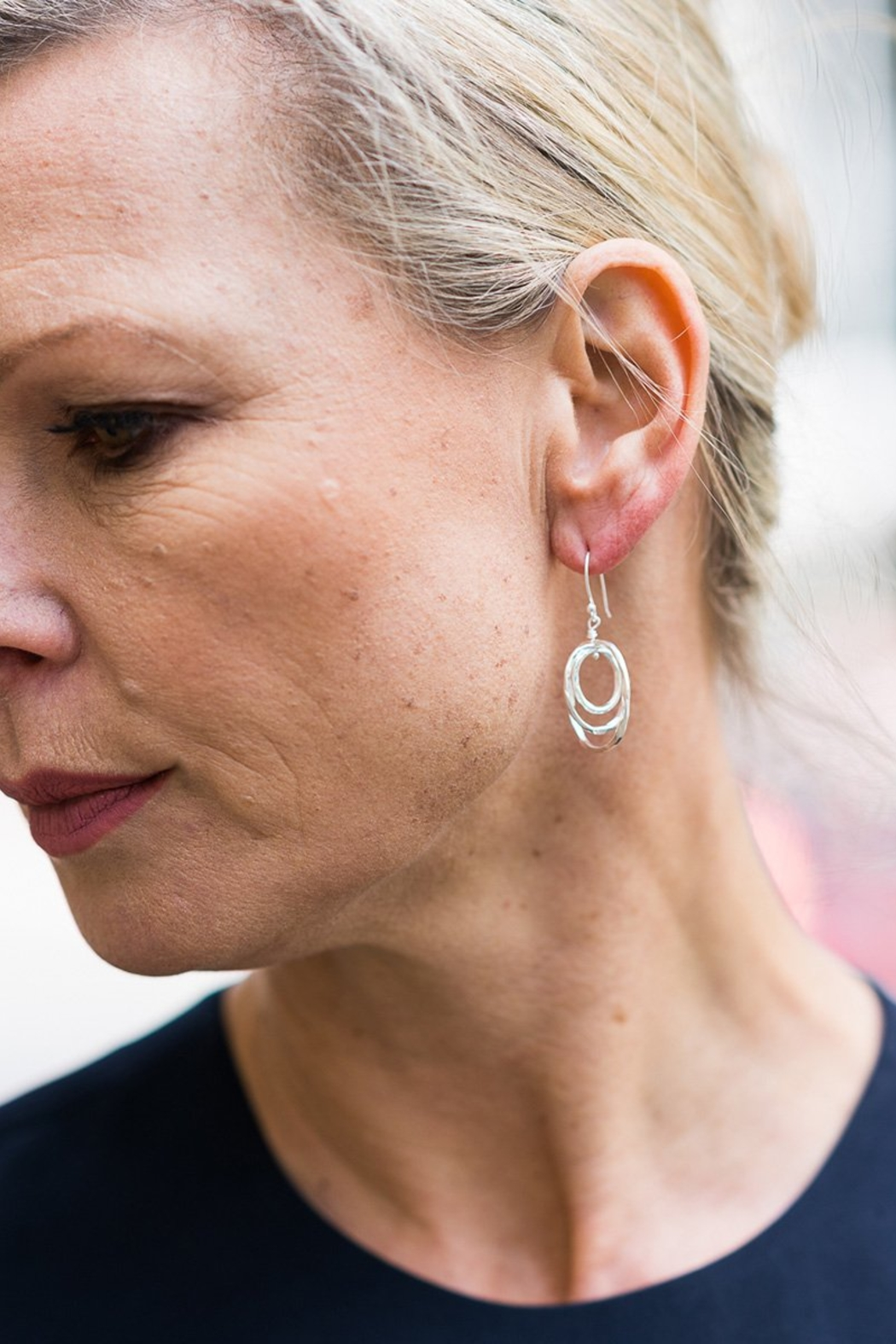 Sikara & Co. Thin Battered Concentric Earrings - Front Full Image