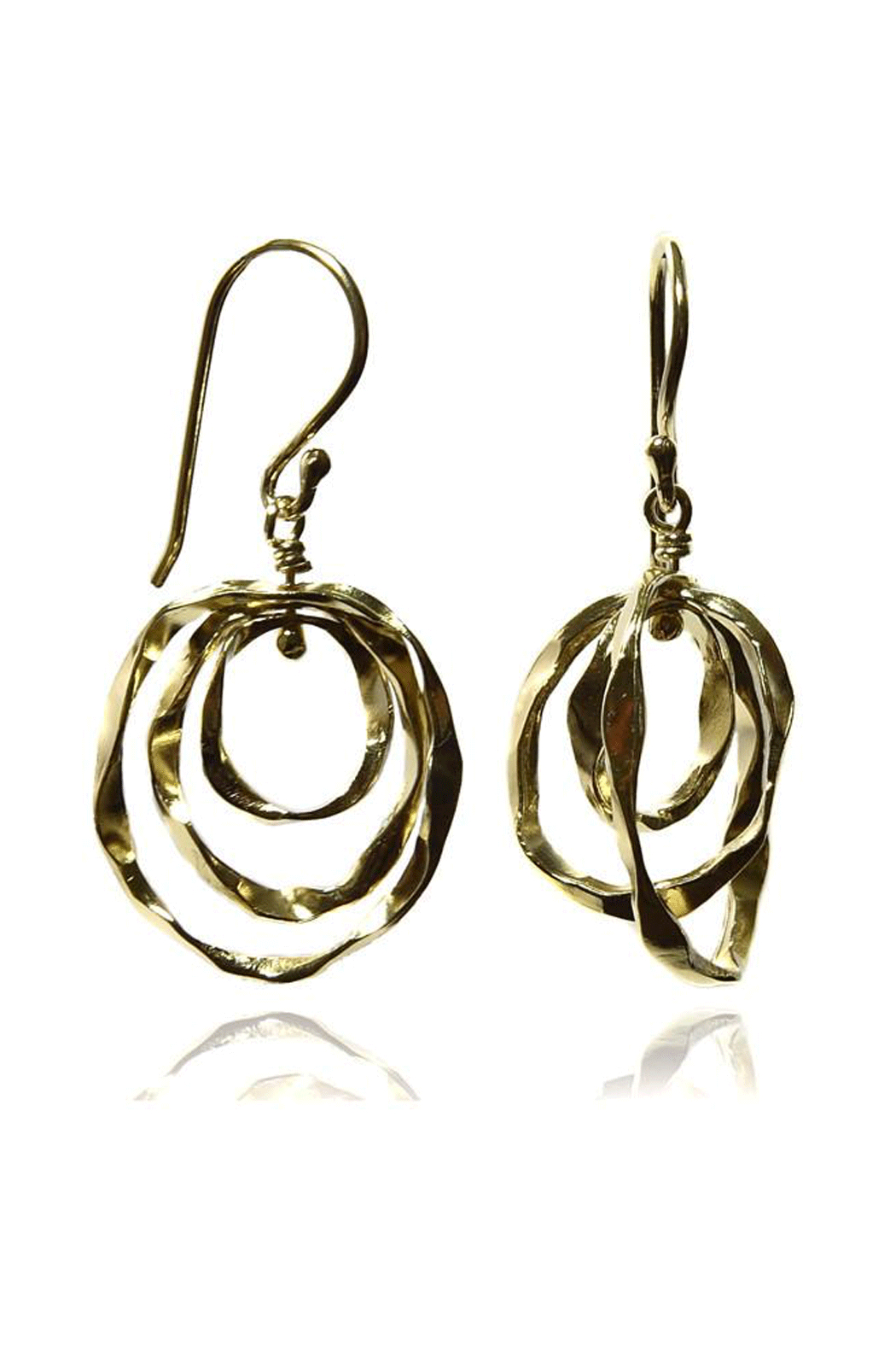 Sikara & Co. Thin Battered Concentric Earrings - Front Cropped Image