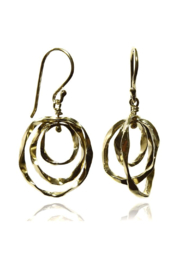 Sikara & Co. Thin Battered Concentric Earrings - Front cropped