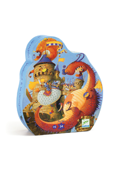 Djeco Silhouette 36 Piece Puzzle Vaillant and the Dragon - Product List Image