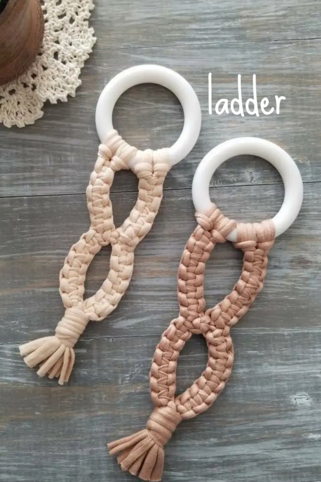 Twinkle Little Starfish Silicone Macrame Ladder Teething Ring - Front Cropped Image