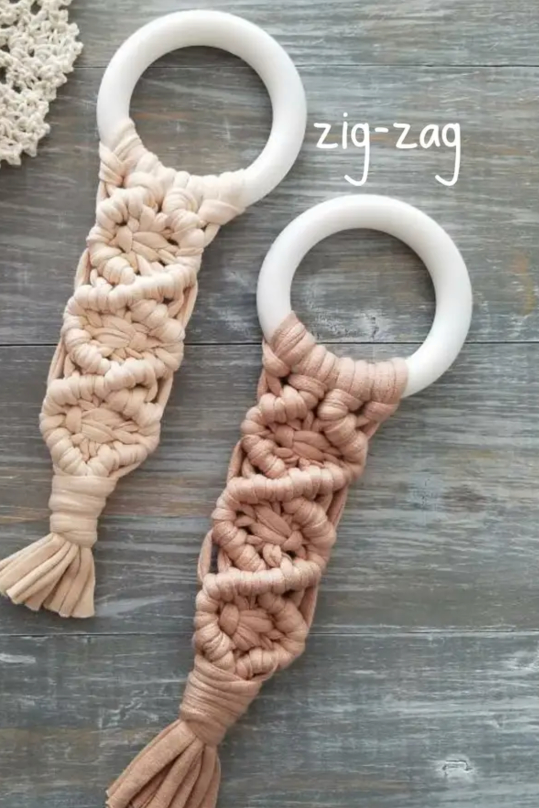 Twinkle Little Starfish Silicone Macrame Zig Zag Teething Ring - Front Cropped Image