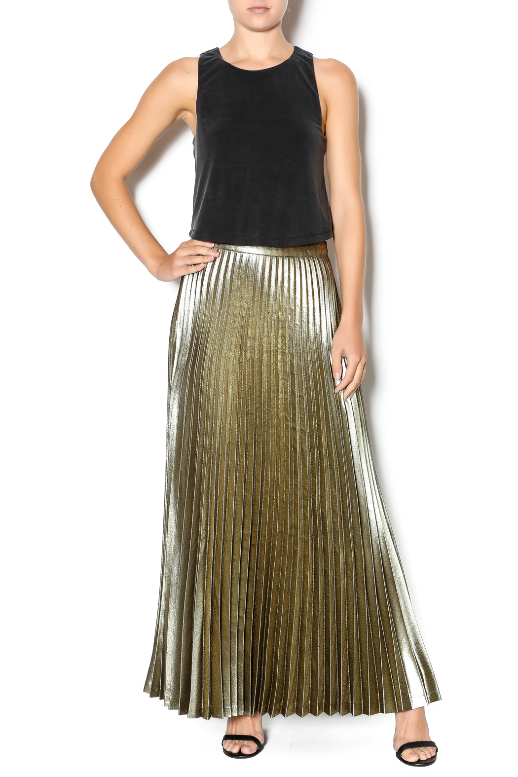 Gold Pleated Maxi Skirt - Skirts