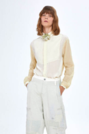 Umit Unal  Silk and Cotton Blouse with Flower Accents - Product Mini Image