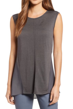 Nic + Zoe Silk-blend knit and flowy crepe tank, scooped neck. - Product List Image