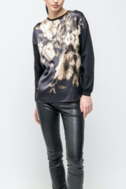 Avant Toi Silk Front Roses Print Pullover - Product Mini Image