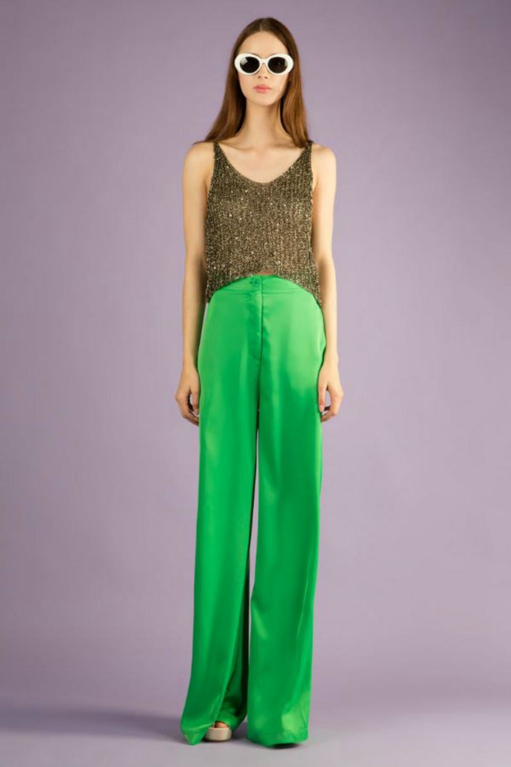 BEULAH STYLE Silk Green Pants - Front Cropped Image