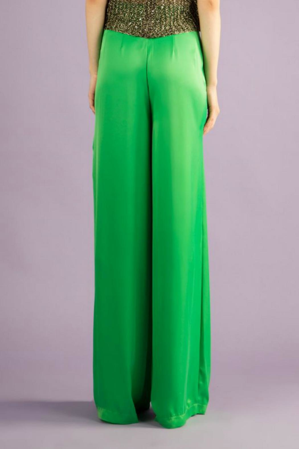BEULAH STYLE Silk Green Pants - Side Cropped Image