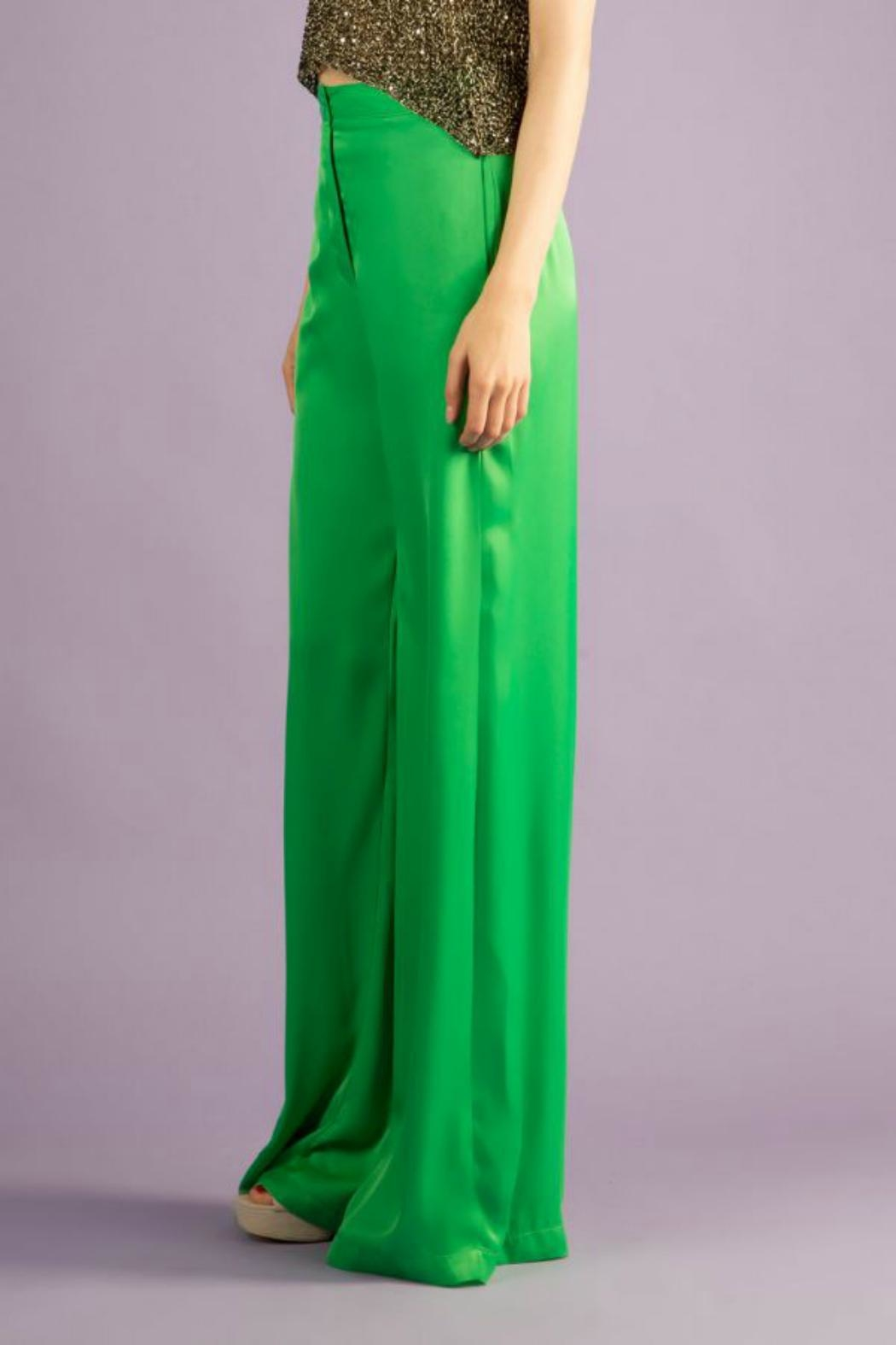 BEULAH STYLE Silk Green Pants - Front Full Image