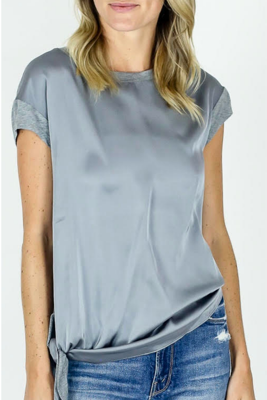 Six Fifty Silk/Jersey Side Tie Top - Main Image