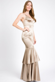 A. Peach Silk Layered Mermaid Gown - Product Mini Image