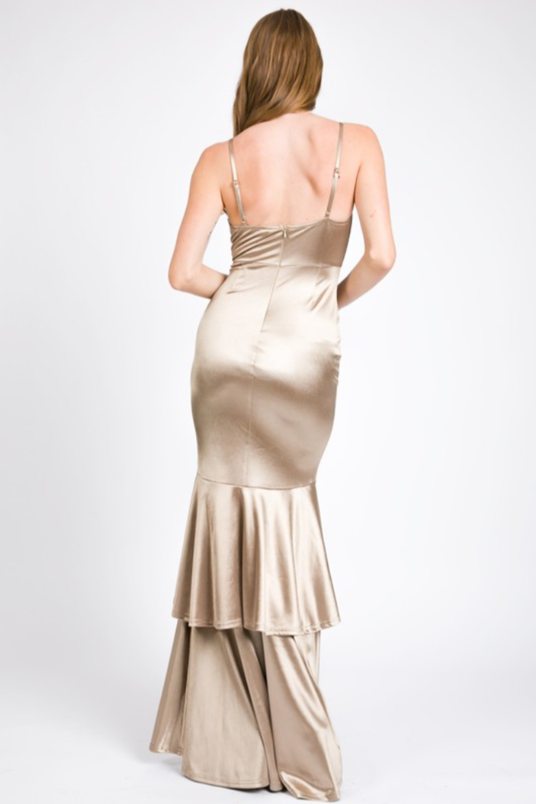 A. Peach Silk Layered Mermaid Gown - Back Cropped Image