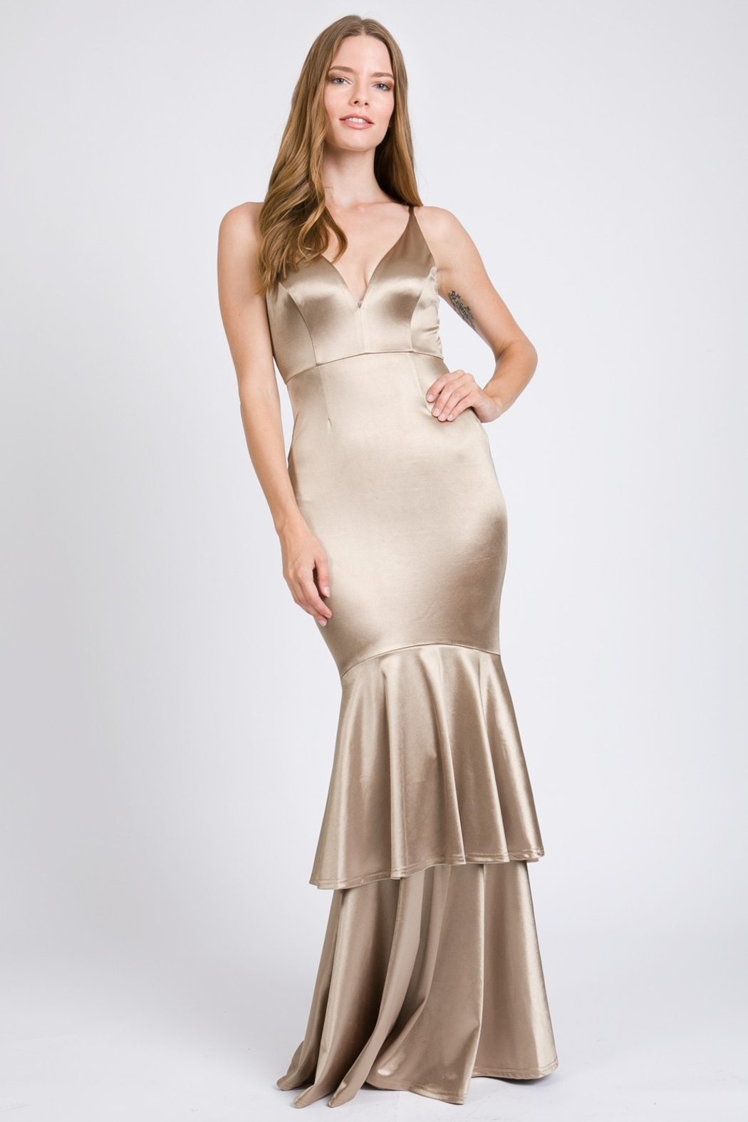 A. Peach Silk Layered Mermaid Gown - Front Cropped Image