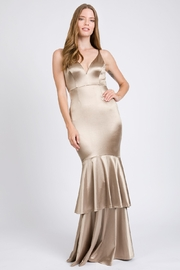 A. Peach Silk Layered Mermaid Gown - Front cropped