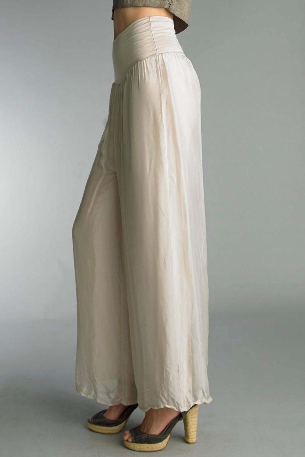Tempo Paris Silk Palazzo Pant - Back Cropped Image