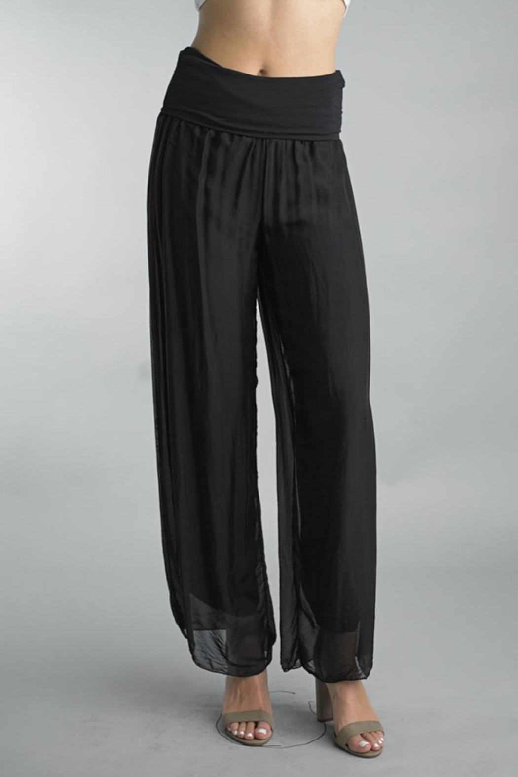 Tempo Paris Silk Palazzo Pants - Front Cropped Image