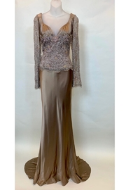 Sue Wong SILK SATIN FITTED SKIRT LACE BODICE GOWN - Product Mini Image