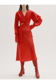 Materiel  Silk Wrap Dress with Cut Out - Product Mini Image