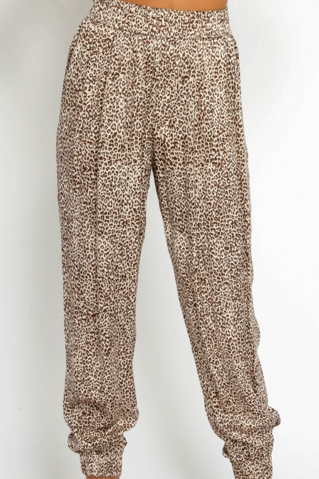 Olivaceous  Silky Leopard Joggers - Main Image