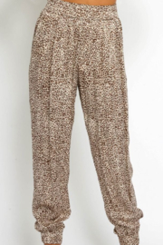 Olivaceous  Silky Leopard Joggers - Product Mini Image