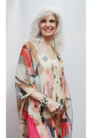 Magic Scarf Silky Sheer Poncho - Beige Abstract - Product Mini Image