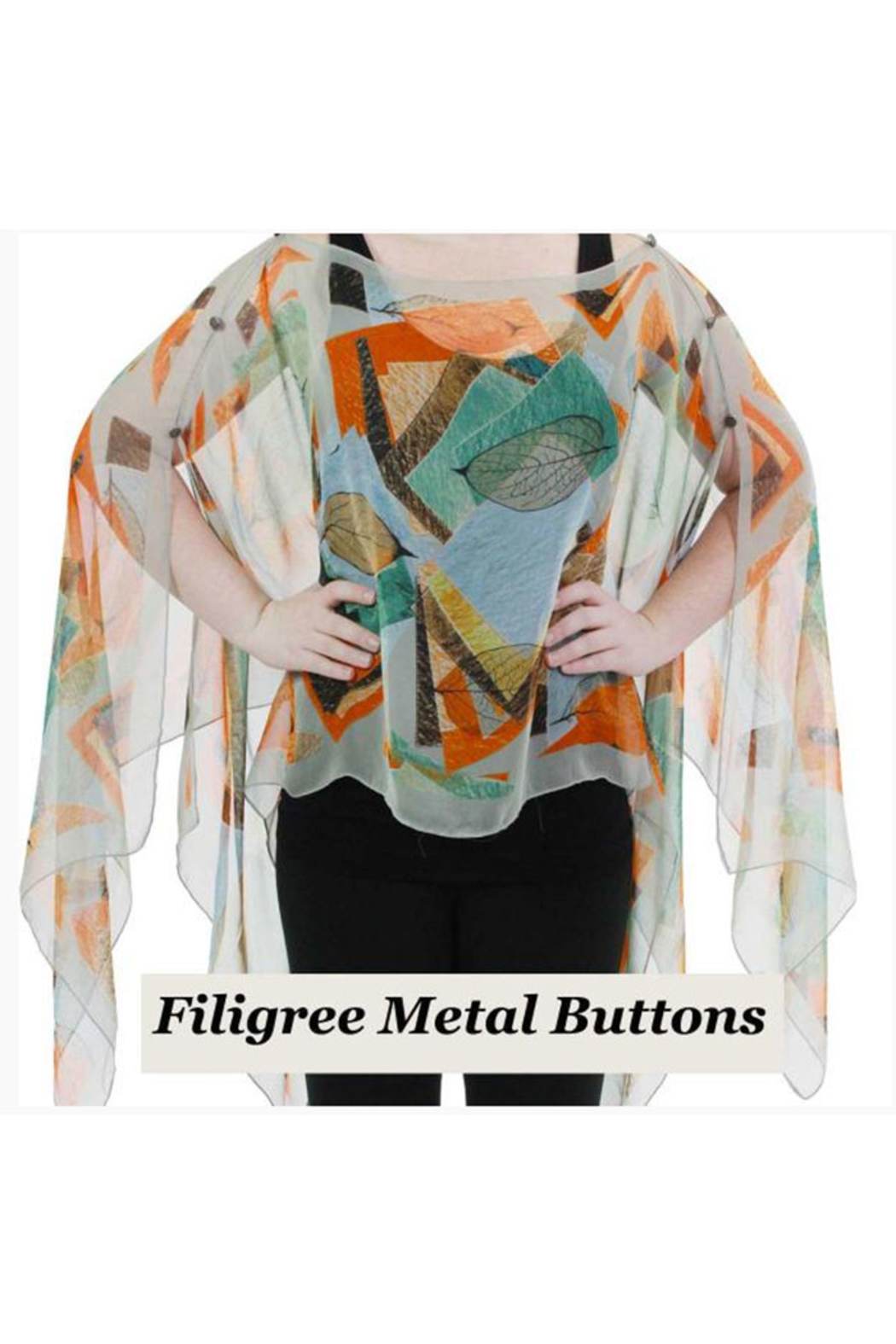 KIMBALS Silky Sheer Button Poncho - Front Cropped Image