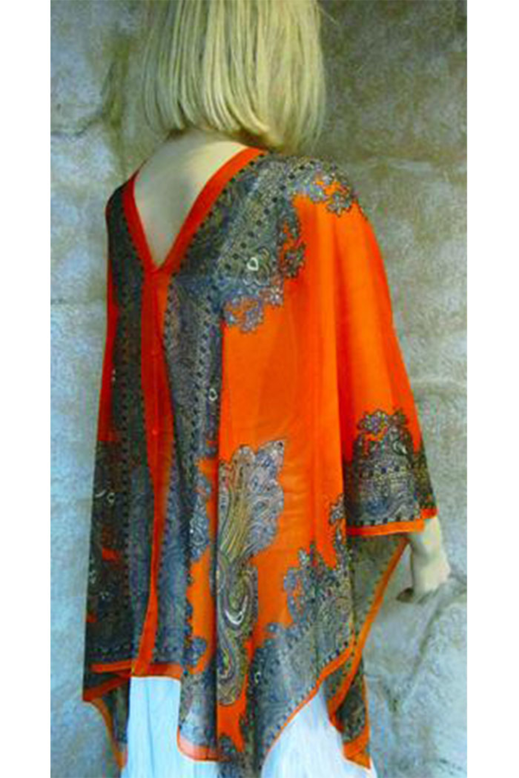 Magic Scarf Silky Sheer Button Poncho - Front Full Image