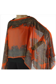 Magic Scarf Silky Sheer Button Poncho - Front cropped