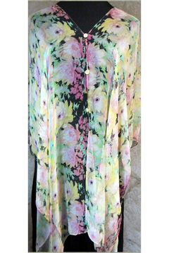 Magic Scarf SILKY BUTTON PONCHO - Yellow Floral - Product List Image