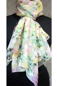 Magic Scarf SILKY BUTTON PONCHO - Yellow Floral - Alternate List Image