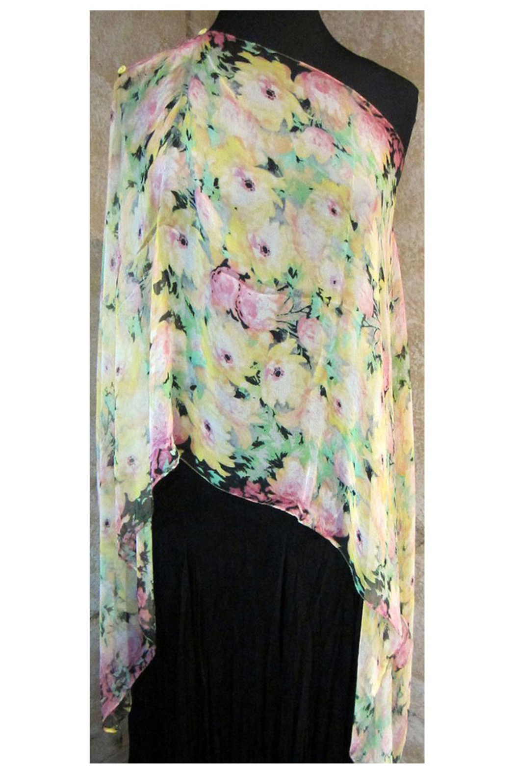 KIMBALS Silky Sheer Button Poncho - Side Cropped Image