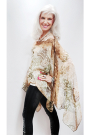 Indian Tropical Silky Sheer Poncho - Green/Gold - Product Mini Image