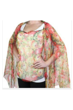 Magic Scarf SILKY BUTTON PONCHO - Coral Floral - Alternate List Image