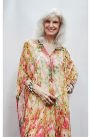 Magic Scarf Silky Sheer Poncho - Coral Floral - Product Mini Image